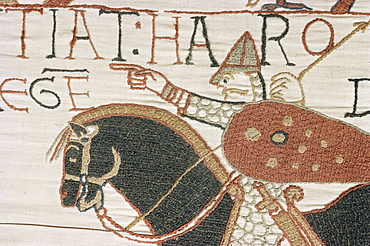 King Harold arriving from North to confront William, Bayeux Tapestry, Normandy, France, Europe