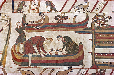 Building ships in preparation for war, Bayeux Tapestry, Bayeux, Normandy, France, Europe