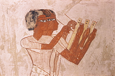 Scribes record crop in harvest scene, Tomb of Menna, 18th dynasty, Sheikh Abd el-Kurna, Valley of the Nobles, Thebes, UNESCO World Heritage Site, Egypt, North Africa, Africa