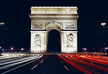 Arc de Triomphe at night, Paris, France, Europe