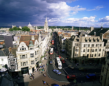 High Street from Carfax Tower, Oxford, Oxfordshire, England, United Kingdom, Europe