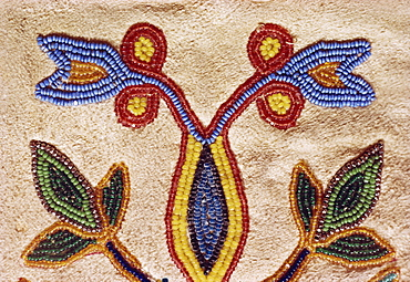 Detail of Blackfoot gloves from around 1890, buckskin with glass beads, Robert A. Testudine Collection, United States of America, North America