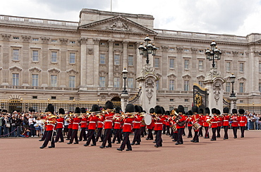 Band of the Scots Guards lead the procession from Buckingham Palace, Changing the Guard, London, England, United Kingdom, Europe