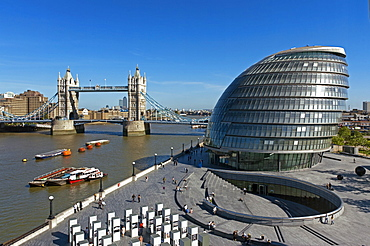 City Hall and Tower Bridge, London, England, United Kingdom, Europe