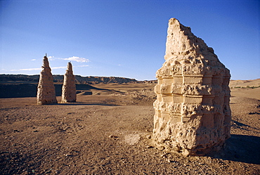 Stupas in the desert of Mogao, at Dunhuang, Gansu Province, China, Asia