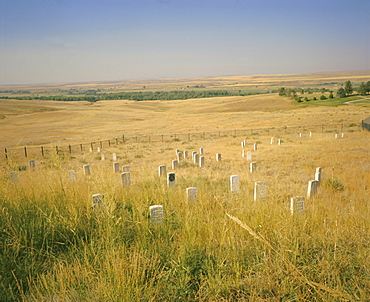 Custer's Last Stand battlefield, Custer's grave site marked by dark shield on stone, Montana, USA, North America
