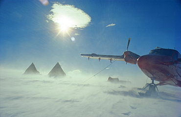 Aircraft on the ground in a blizzard, Antarctica