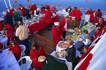Passengers at a BBQ on cruise ship, Antarctica, Polar Regions