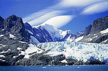 Glacier on southeast coast, South Georgia, Polar Regions