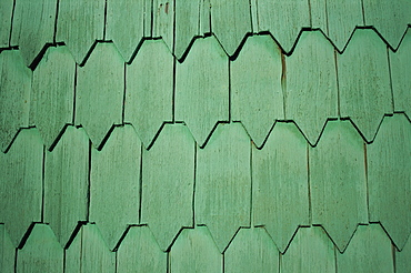 Close-up of tejuelas (house shingles), Chiloe, Chile, South America