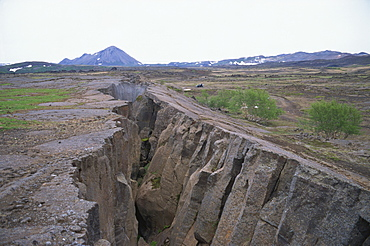 Rift where earth is splitting at plate boundary, Grotagja, Lake Myvatn region, north east area, Iceland, Polar Regions