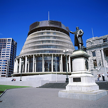 Exterior of Cabinet Offices, known as The Beehive, Wellington, North Island, New Zealand, Pacific