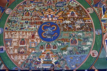 Wall painting of the wheel of life, Punakha Dzong, Bhutan, Asia