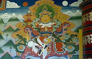 Wall painting, Punakha Dzong, Bhutan, Asia