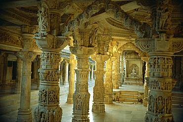 Interior, Dillawara Temple, Mount Abu, Rajasthan state, India, Asia - 2-13432