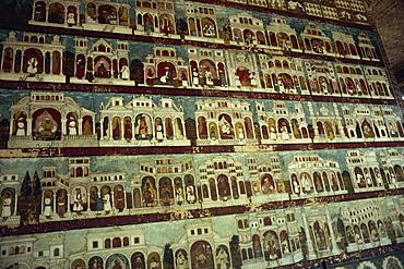 Murals in Tipu Sultan's palace, Seringapatam, Mysore, Karnataka state, India, Asia - 2-15272
