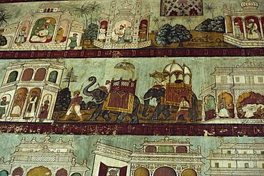 Murals in Tipu Sultan's palace, Seringapatam, Mysore, Karnataka state, India, Asia - 2-15403