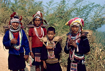 Group from the Aka (Akha) Hill Tribe in traditional dress, Chiang Rai, Thailand, Southeast Asia, Asia