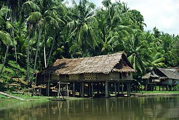 Hut on stilts beside the Kari Wari River, Papua New Guinea, Pacific Islands, Pacific