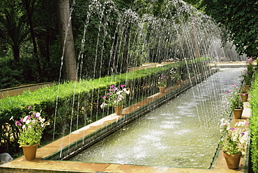 Fountains in Maria Luisa Park, Seville, Andalucia, Spain, Europe