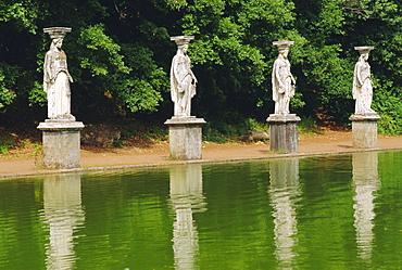 Caryatids line Canal of Canopue, Hadrian's Villa, Tivoli, Lazio, Italy