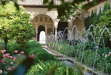The Canal Court of the Generalife gardens in May, UNESCO World Heritage Site, Granada, Andalucia (Andalusia), Spain, Europe