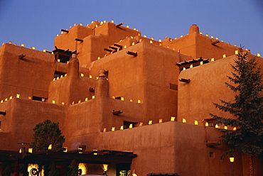 Farolitos at Loretto during the Christmas season, at Santa Fe, New Mexico, United States of America, North America