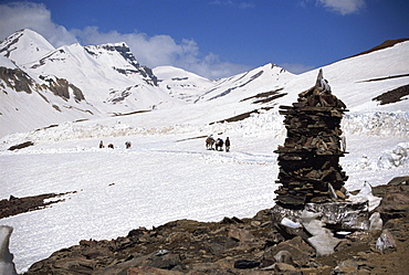 Summit of the Baralacha Pass at 5100m on Leh to Manali Road, Himachal Pradesh state, India, Asia