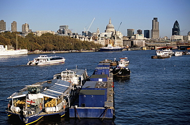 City of London skyline and River Thames from Blackfriars Bridge, London, England, United Kingdom, Europe
