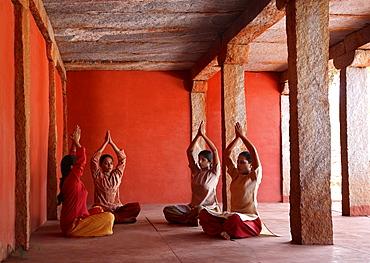 Pranayama, Yoga Breathing at Nrityagram Dance School, Bangalore, Karnataka, India, Asia