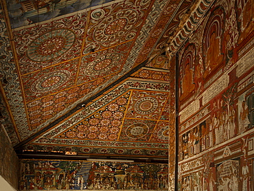 Ceiling of the Image House, which contains strip cartoon murals of the Jataka stories around the outer wall of the inner shrine, Subodharama Temple, dating from the mid 19th century, Dehiwala, Colombo, Sri Lanka, Asia