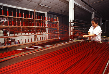 Stretching Silk at Jim Thomson Factory in Korat, Thailand, Southeast Asia, Asia