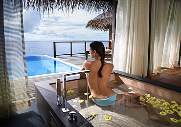 Bathtub at Escape Water Villa at Coco Palm Bodu Hithi Resort, Maldives, Indian Ocean, Asia