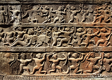 Reliefs from the mid 11th century, Baphuon, Angkor, UNESCO World Heritage Site, Cambodia, Indochina, Southeast Asia, Asia