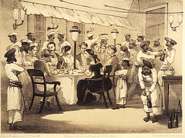 British colonials having dinner, illustration from the satirical book Curry and Rice on forty Plates by G. F. Atkinson from 1859, India, Asia