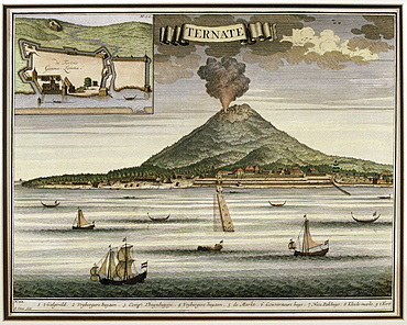 Illustration from Francois Valentijn's 18th century Oud Nieuw Oost-Indien showing the Island of Ternate, Moluccas Indonesia, Southeast Asia, Asia