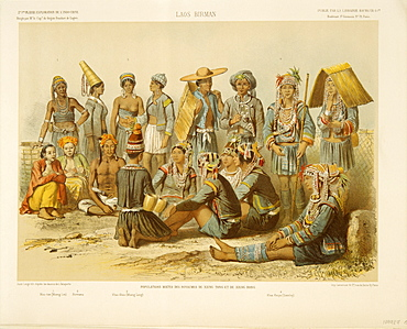 Hill tribes of Laos, mostly Akha and Hmong, depicted in Exploration de L'Indo-Chine by Delaporte, Laos, Indochina, Southeast Asia, Asia