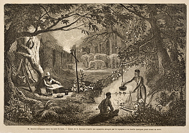 A 19th century engraving of the French explore Mouhot, the discoverer of Angkor, camping in the jungles, Laos, Indochina, Southeast Asia, Asia