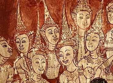 Celestial deities, detail of murals dating from the Ayutthaya period, Wat Chompoowek (Wat Chomphuwek), Nonthaburi, Thailand, Southeast Asia, Asia