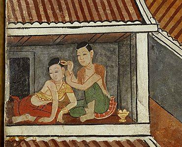 Mural showing women dressing at Wat Suthat in Bangkok, Thailand, Southeast Asia, Asia