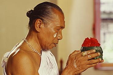 A royal Brahmin performing a ceremony, Bangkok, Thailand, Southeast Asia, Asia