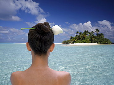 Woman at the atoll of Rhiveli, Maldives, Indian Ocean, Asia
