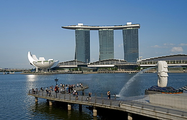 Marina Sands Resort and Casino and Merlion, Singapore, Southeast Asia, Asia