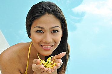 Girl with ylang ylang (Cananga Odorata), an essential  oil widely used in spa and ayurveda and perfumes, Philippines, Southeast Asia, Asia