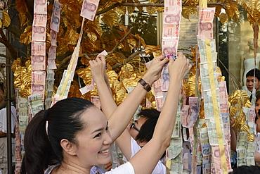 Offering of money, Bangkok, Thailand, Southeast Asia, Asia