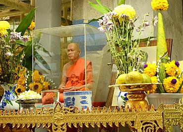 A wax monk, Bangkok, Thailand. Southeast Asia, Asia