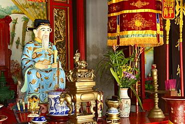 Confucius, Quan Cong temple, Hoi An, Vietnam, Indochina, Southeast Asia, Asia
