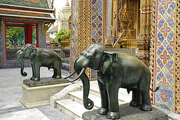 Bronze elephants at Wat Rajabopit, Bangkok, Thailand, Southeast Asia, Asia