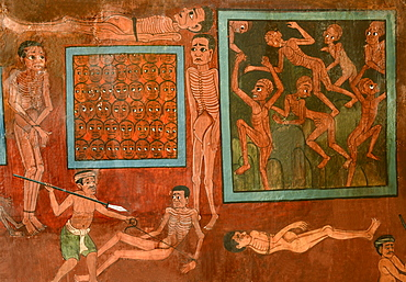 Detail of murals with scenes of hell dating from the late Rattanakosin period, Wat Saket, Bangkok, Thailand, Southeast Asia, Asia
