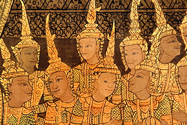 Detail of the murals of Wat Saket in late Rattanakosin style, Bangkok, Thailand, Southeast Asia, Asia